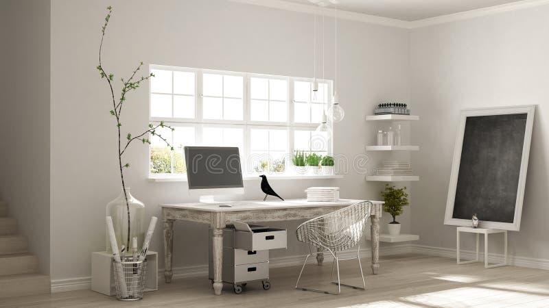 Domowy miejsce pracy, scandinavian pokoju kąta domowy biuro, klasyk m obraz stock