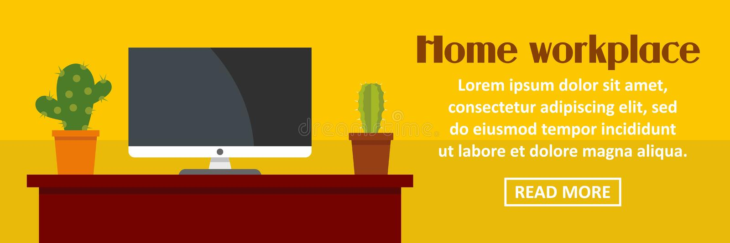 Domowy miejsce pracy z kaktusowego sztandaru horyzontalnym pojęciem ilustracji