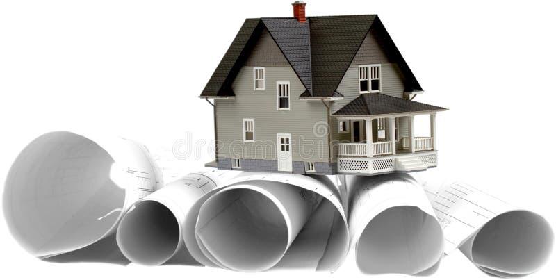 Domowy model Na budowa planach - Odosobnionych obrazy royalty free