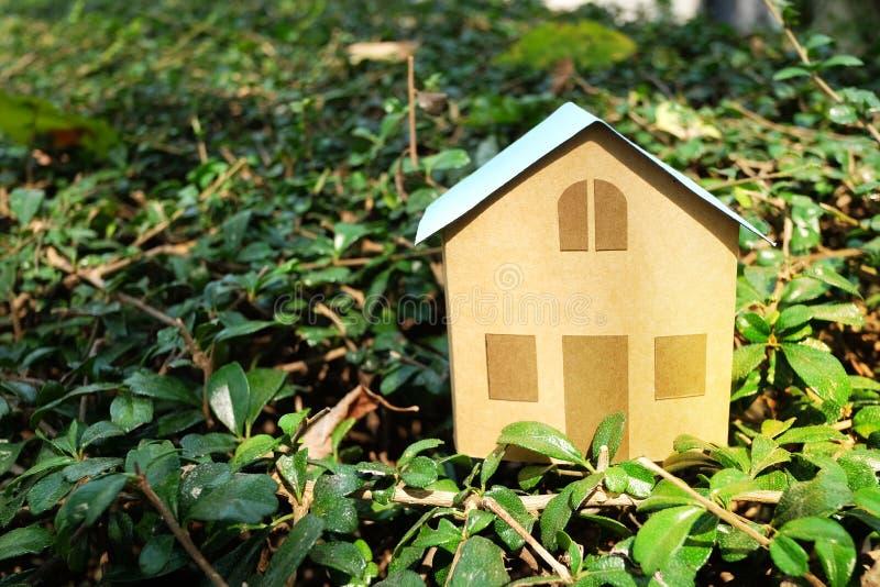 Domowy model na zielonym krzaku dla bubla i czynszu nieruchomości pojęcia z kopii przestrzenią fotografia royalty free