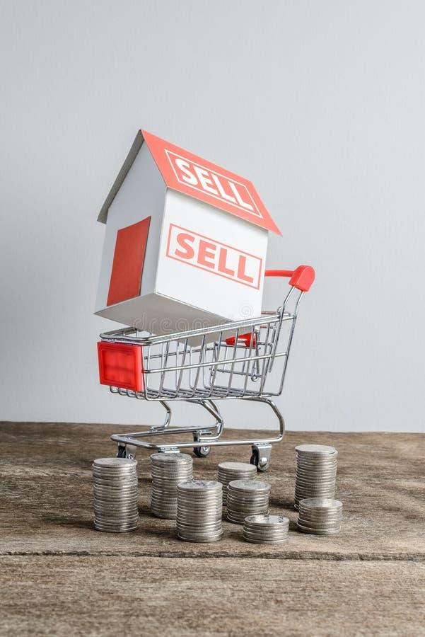 Domowy model w wózek na zakupy i rzędzie menniczy pieniądze fotografia royalty free