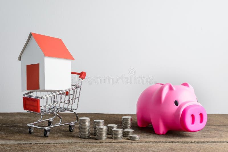 Domowy model w wózek na zakupy i rzędzie menniczy zakaz pieniądze i prosiątka fotografia royalty free