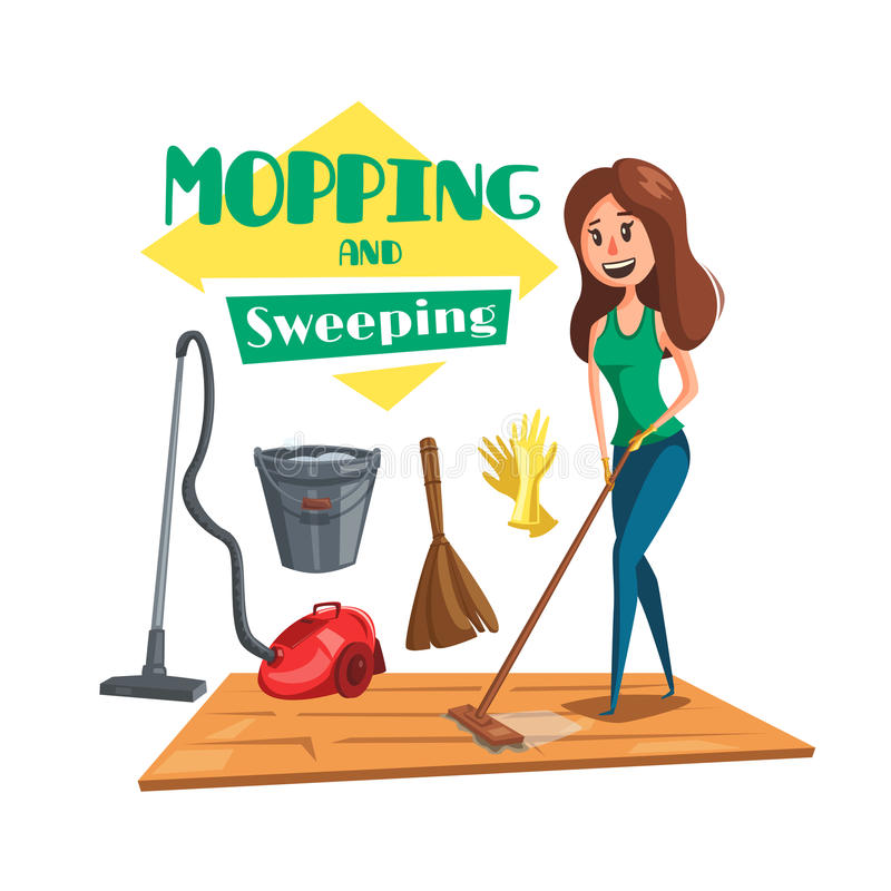 Domowy mopping i ogólny vectro plakat royalty ilustracja