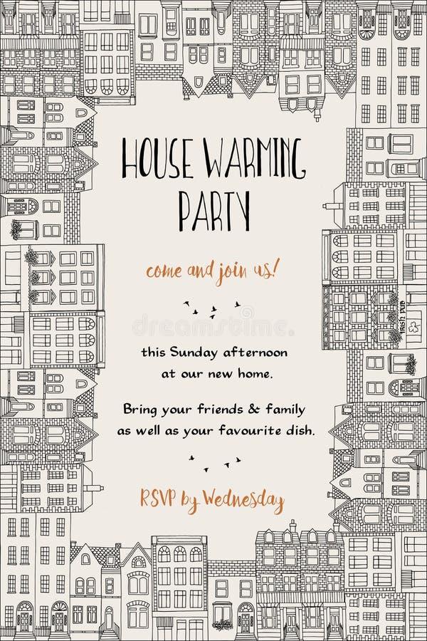 Domowy nagrzania przyjęcia zaproszenie ilustracji