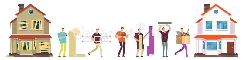 Domowy odświeżanie wektor Mężczyzna napraw domowa ilustracja ilustracja wektor