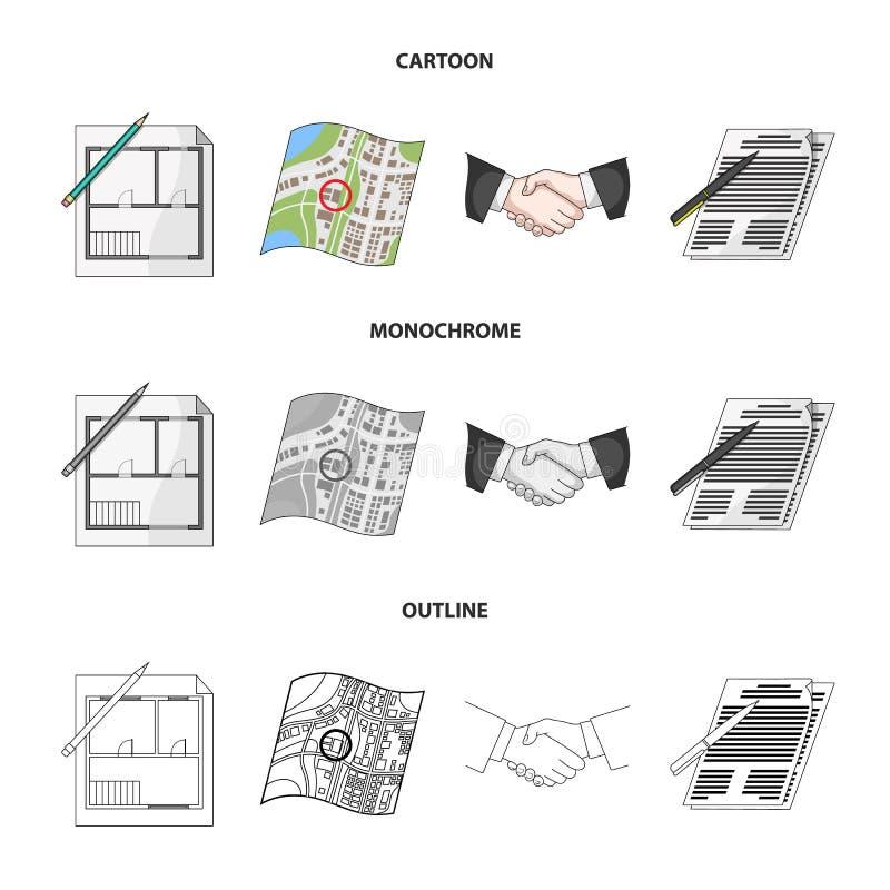 Domowy plan, dokumenty dla podpisywać, uścisk dłoni, terenu plan Pośrednik handlu nieruchomościami ustalone inkasowe ikony w kres royalty ilustracja