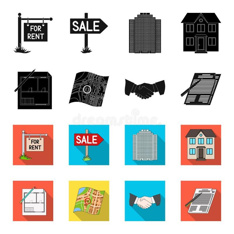 Domowy plan, dokumenty dla podpisywać, uścisk dłoni, terenu plan Pośrednik handlu nieruchomościami ustalone inkasowe ikony w czer ilustracja wektor