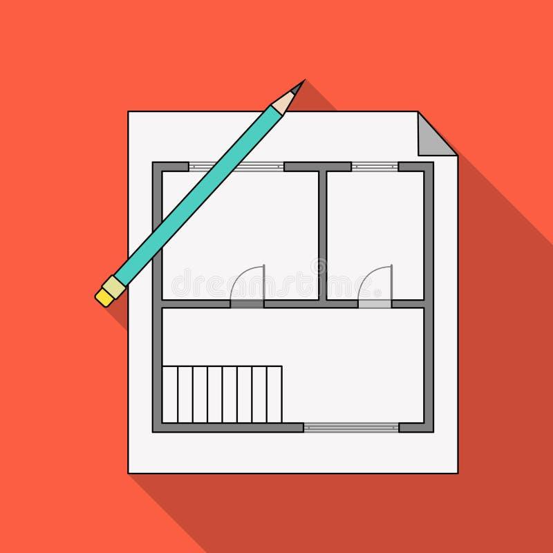 Domowy plan Pośrednik handlu nieruchomościami pojedyncza ikona w mieszkanie stylu symbolu zapasu ilustraci wektorowej sieci royalty ilustracja