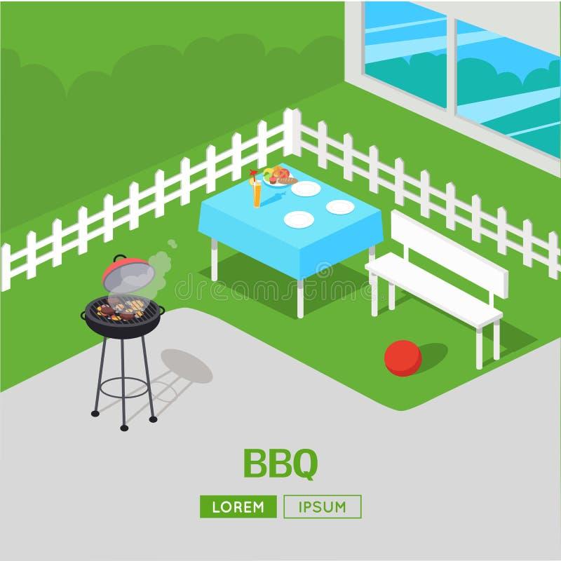Domowy podwórka grill BBQ Partyjna Isometric ilustracja royalty ilustracja