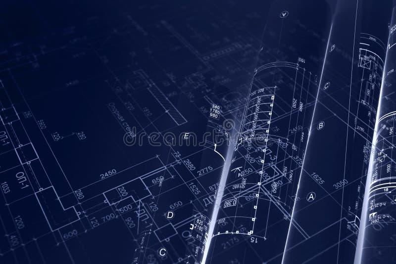 Domowy projekta plan, projekt rolki dla inżynieria wodno-lądowa backgr zdjęcia stock