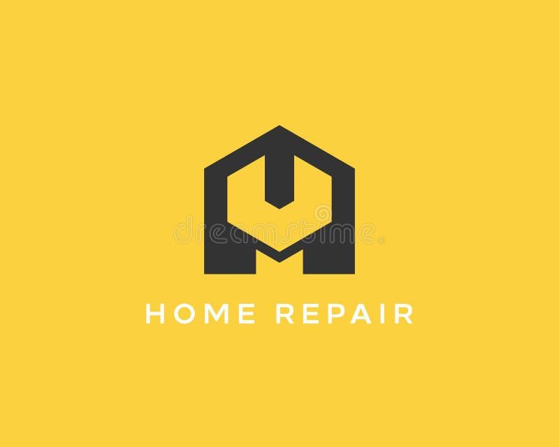 Domowy remontowej usługa narzędzia sklepu znaka logotyp Kreatywnie pomysłu wyrwania ikony mechanika logo Negatywu astronautyczny  ilustracja wektor