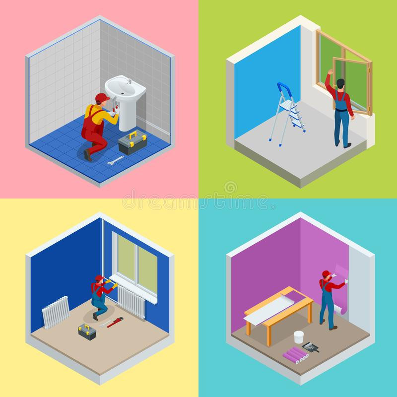 Domowy remontowy isometric pojęcie ustawiający z pracownikami, narzędzia, wyposażenie odizolowywający na bielu Budynek, budowa i  royalty ilustracja