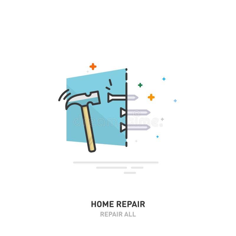 Domowy remontowy logo Młot uderza gwóźdź tekst projektu również zwrócić corel ilustracji wektora royalty ilustracja