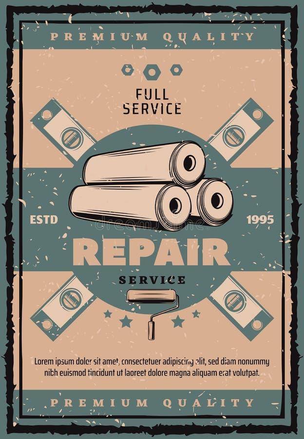Domowy remontowy rocznika sztandar z pracy narzędziem ilustracja wektor