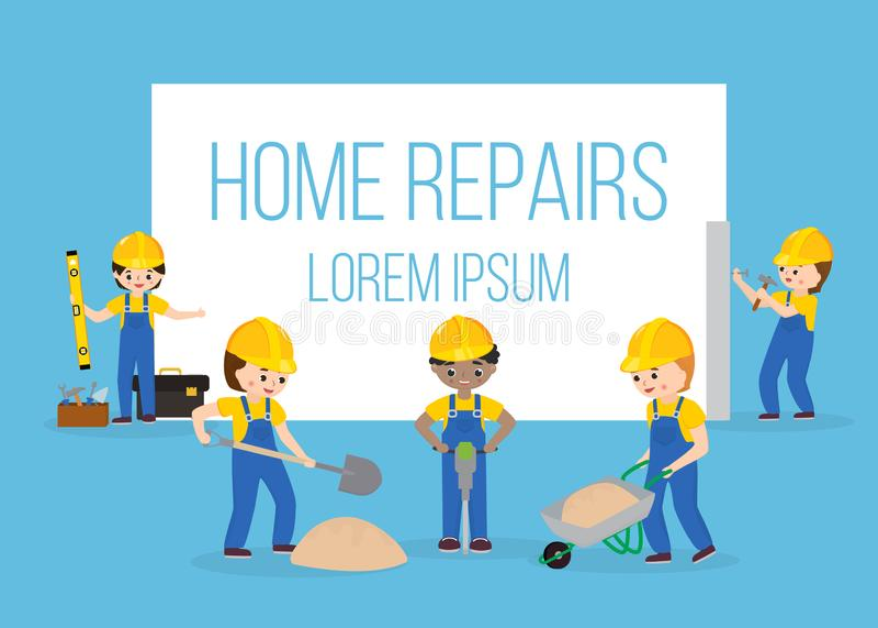 Domowy remontowy sztandar z pracownikami, budów narzędzia, wyposażenie i materiałów symbole odizolowywający na błękicie, zbudowa? ilustracja wektor