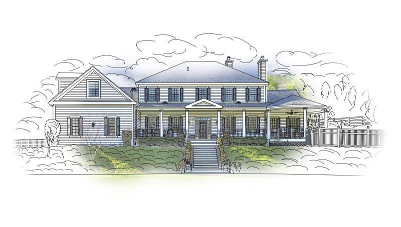 Domowy rysunek i Ghosted fotografii kombinacja na bielu ilustracja wektor