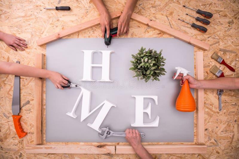 Domowy słowo na hardboard zdjęcie royalty free