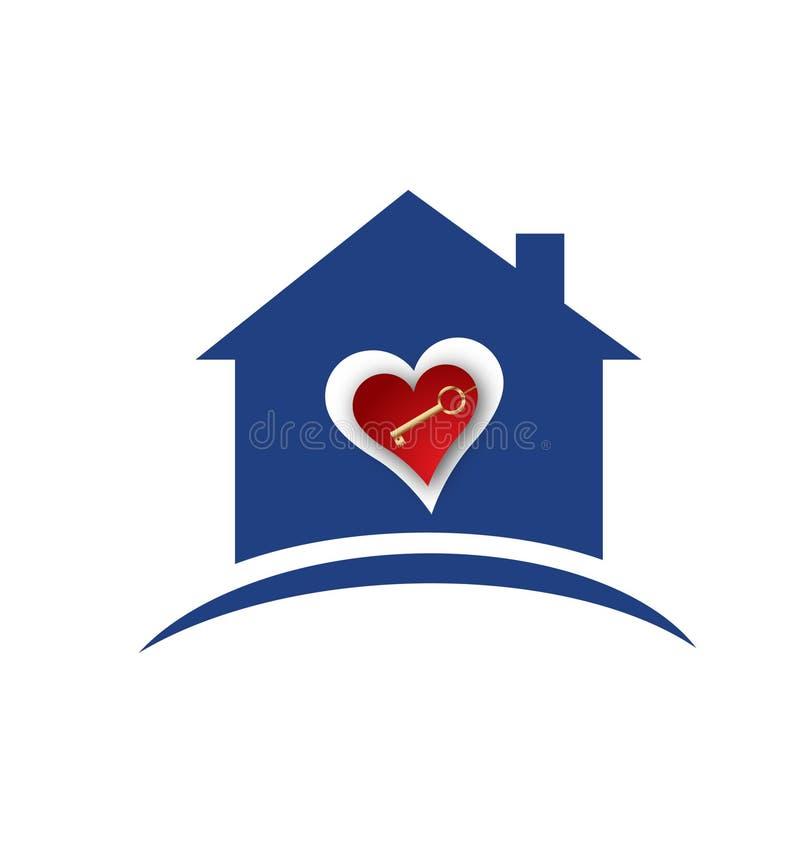 Domowy serca i złota kluczowy logo