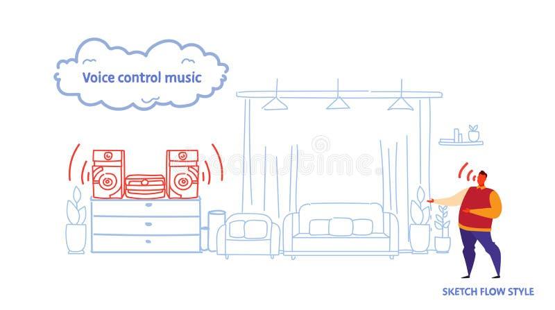 Domowy stereo system kontrolujący mężczyzny mądrze mówcą rozpoznaje rozkazu głosu kontroli muzycznego pojęcia nowożytnego żywego  ilustracja wektor