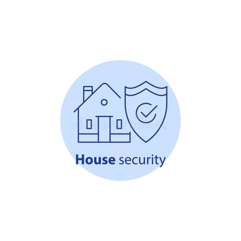 Domowy strażowy system, domowa ochrona, włamanie ochrona, majątkowa przerwa w ubezpieczeniu, uderzenie ikona ilustracja wektor