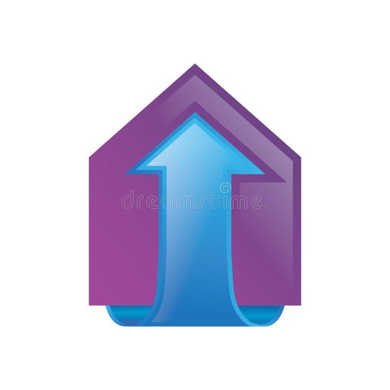 Domowy strzałkowaty buduje 3D logo wektor ilustracji