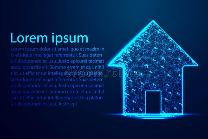 Domowy symbol Poligonalna wireframe siatki ikona Abstrakcjonistyczny Niski poli- wireframe tło Wymarzony dom, strona domowa lub i royalty ilustracja