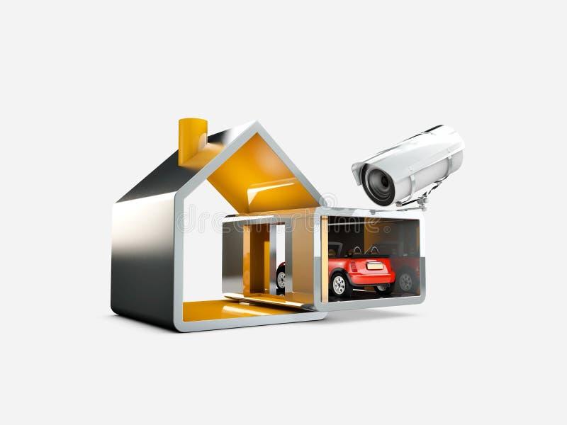 Domowy system bezpieczeństwa, 3d ilustracja, odosobniony biel ilustracja wektor