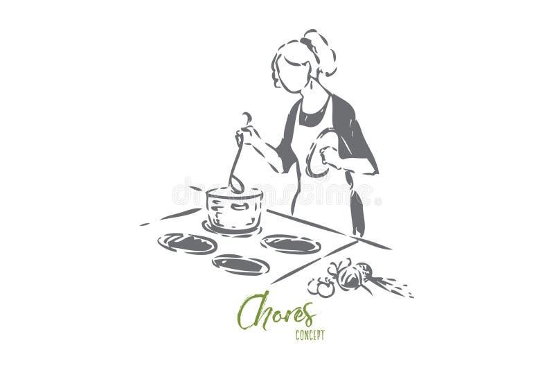 Domowy szefa kuchni pojęcia nakreślenie Odosobniona wektorowa ilustracja royalty ilustracja