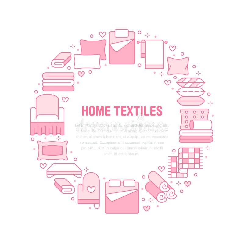 Domowy tkanina okr?gu szablon z mieszkanie linii ikonami Po?ciel, sypialni po?ciel, poduszki, prze?cierad?a ustawia, koc i duvet ilustracji