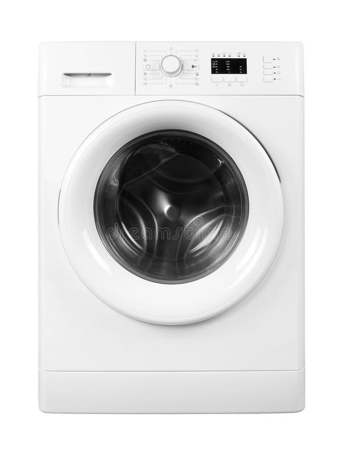 Domowy urządzenie - Frontowego widoku pralka odosobniony zdjęcia royalty free