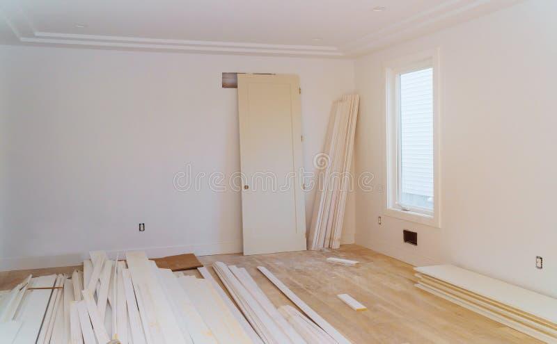 Domowy w budowie nowy dodatek przemodelowywa Drywall sheetrock scena fotografia royalty free