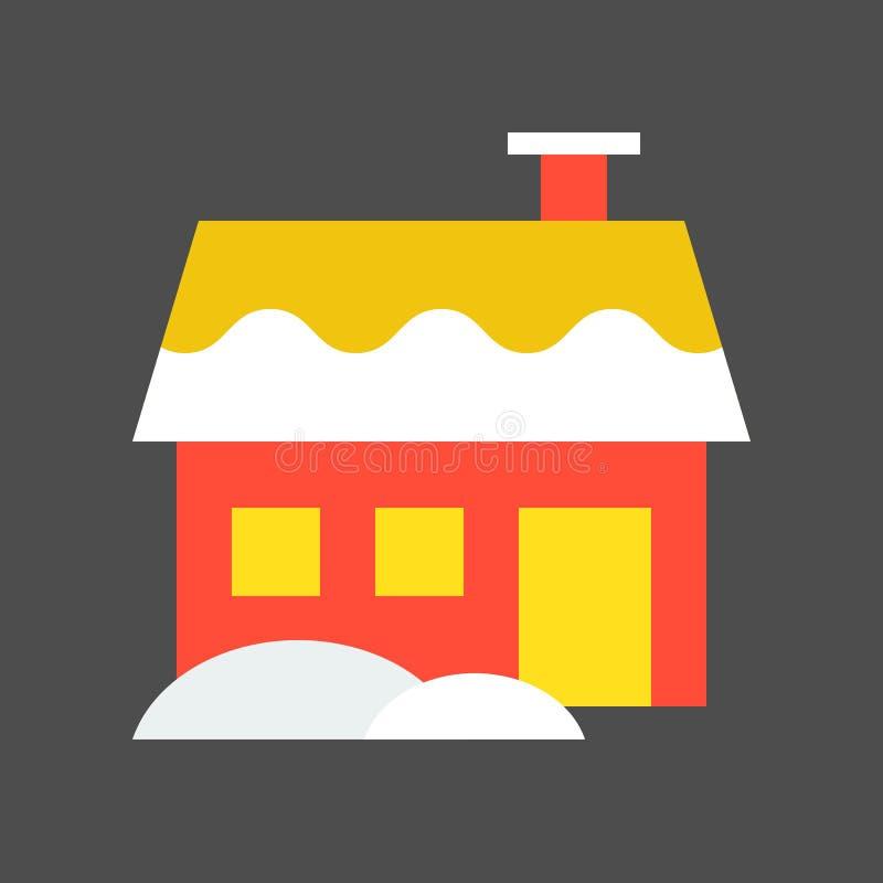 Domowy wektor, boże narodzenia projektuje mieszkanie stylową ikonę ilustracja wektor