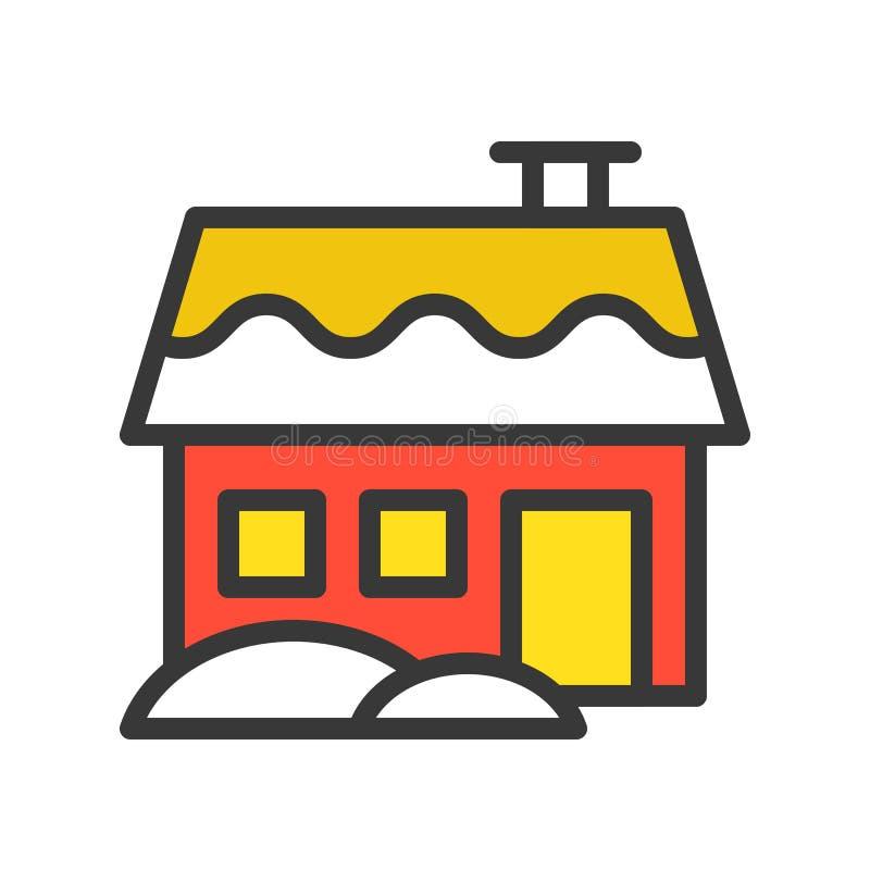 Domowy wektor, boże narodzenie odnosić sie stylowa projekt ikona, editable outl royalty ilustracja