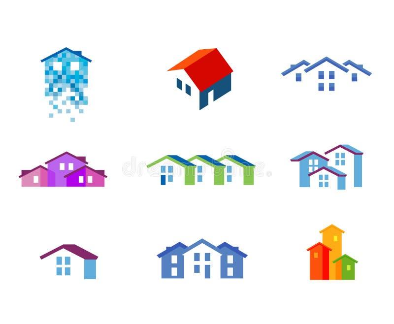 Domowy wektorowy loga projekta szablon miasteczko lub royalty ilustracja