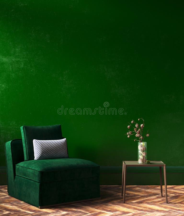 Domowy wewnętrzny egzamin próbny z zieloną kanapą, stołem i wystrojem w żywym pokoju, zdjęcia stock