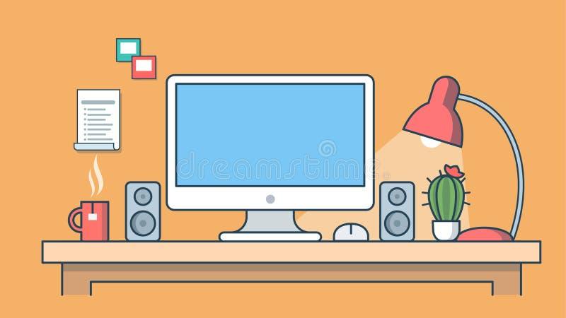 Domowy wewnętrzny miejsce pracy i odległy pracy mieszkania vect ilustracji