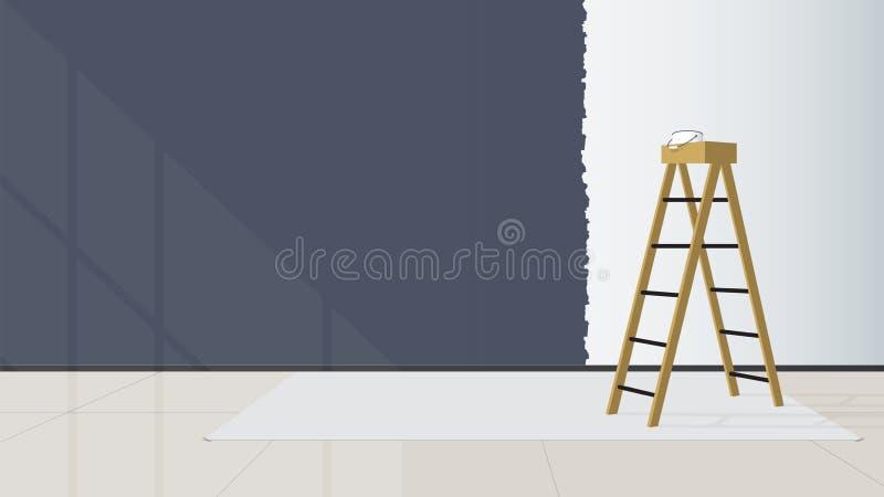 Domowy wewnętrzny projekt Schodki umieszczają po środku żywego pokoju ściana no był kończę malować wektor royalty ilustracja