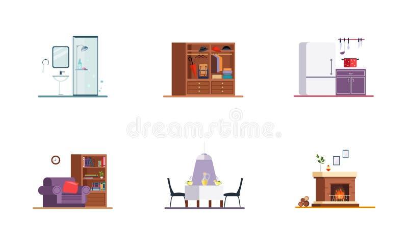 Domowy wnętrze, łazienka, kuchnia, żywy pokój, jadalnia, graby wektorowa ilustracja na białym tle royalty ilustracja
