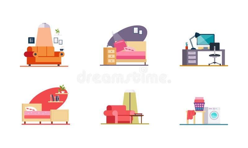 Domowy wnętrze, ministerstwo spraw wewnętrznych, żywy pokój, sypialnia, pralnianych elementów wektorowa ilustracja na białym tle royalty ilustracja
