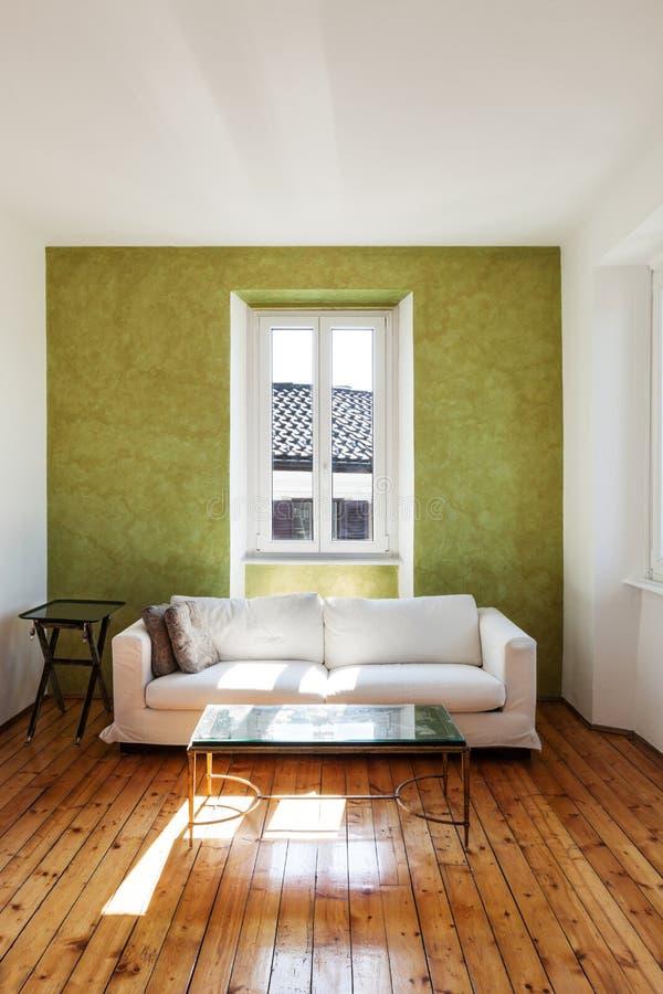 Biała otomana, wnętrze fotografia stock