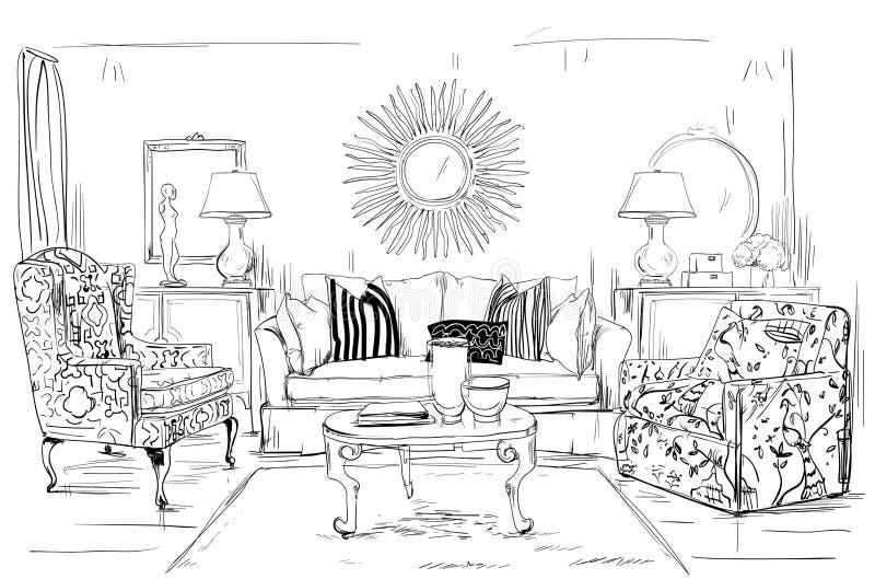 Domowy wnętrze z kanapą i stolik do kawy ilustracji