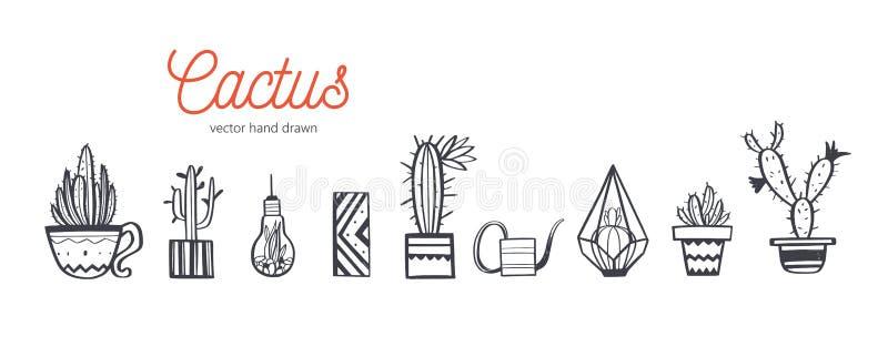 Domowy wystrój i Domowa wektorowa ręka rysujący roślina set Kaktusowego i wewnętrznego projekta elementy Odosobniony boho i scand ilustracja wektor