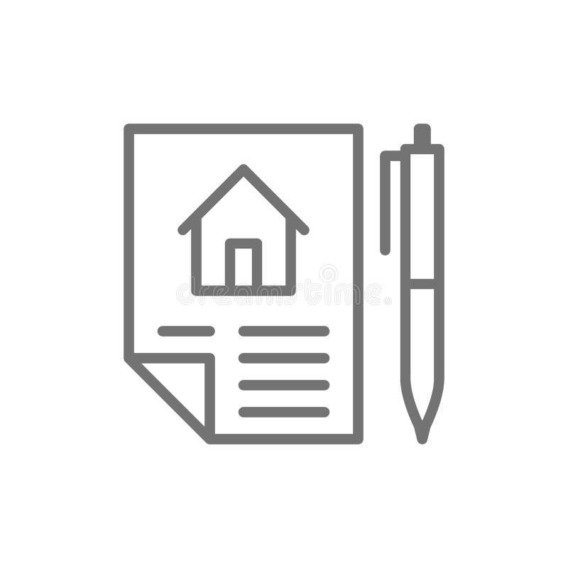 Domowy zakupu kontrakt, sprzeda? nieruchomo??, arendy kreskowa ikona royalty ilustracja