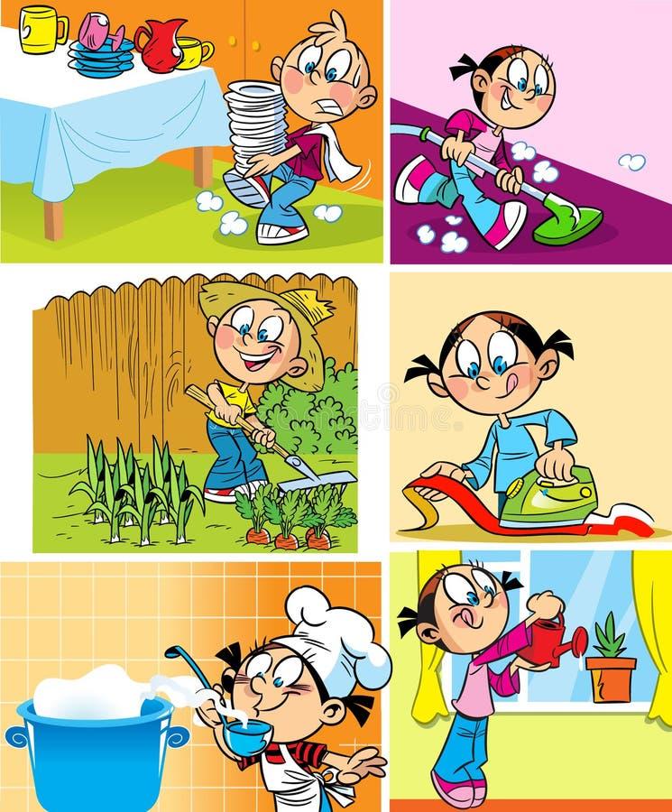 Domowy zatrudnienie dzieci royalty ilustracja