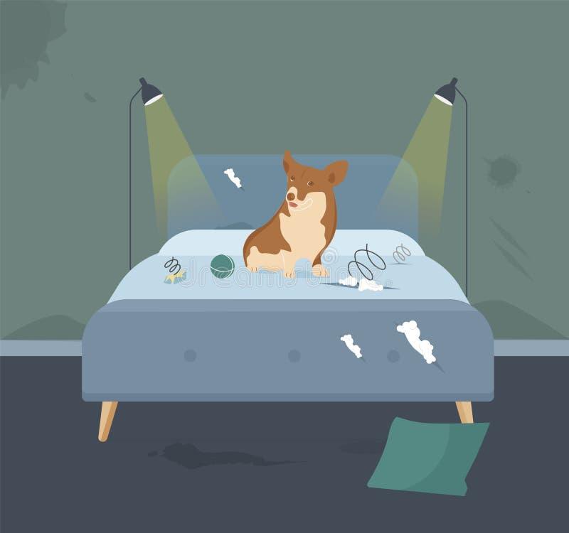 Domowy zwierzę domowe niszczyciel Kłama na Łóżkowej ilustracji royalty ilustracja