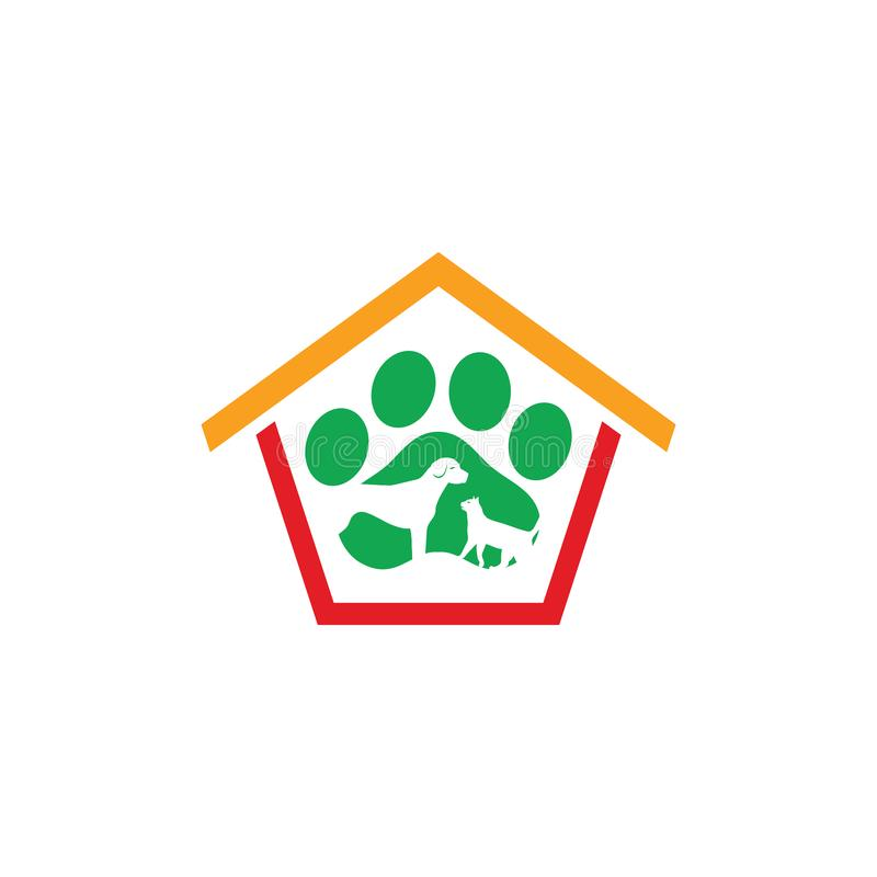Domowy zwierzę domowe sklepu opieki logo biznes ilustracji