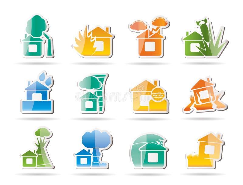 domowych ikon asekuracyjny ryzyko ilustracja wektor