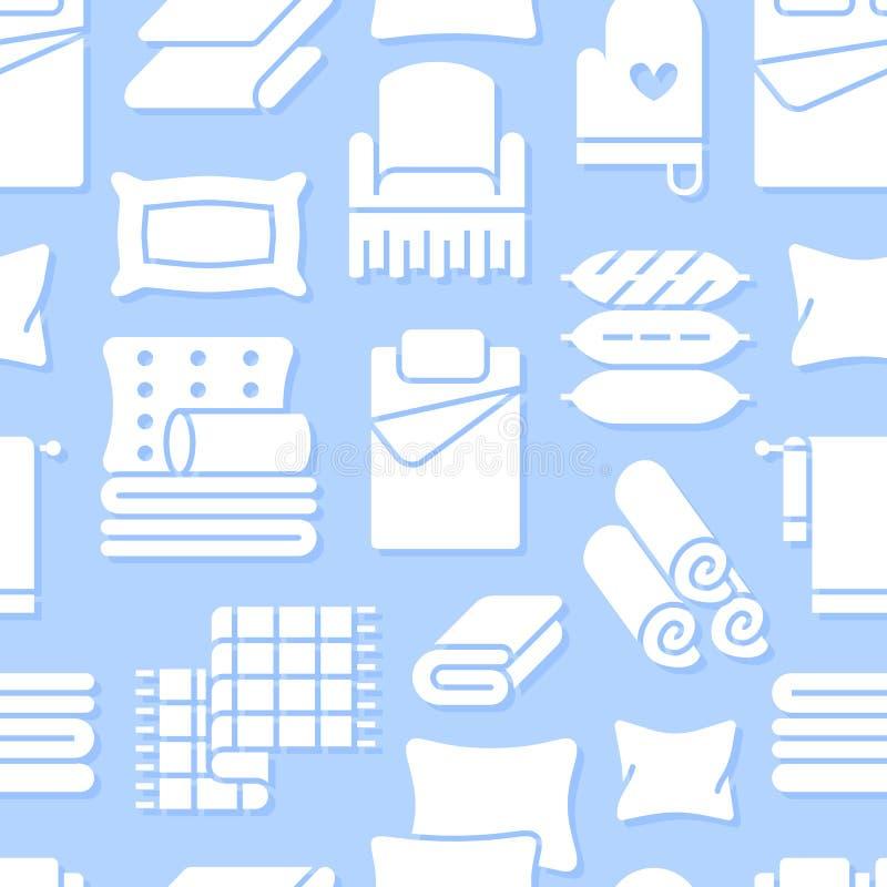 Domowych tkanin bezszwowy wzór z płaskimi glif ikonami Pościel, sypialni pościel, poduszki, prześcieradła ustawia, koc i duvet ilustracja wektor
