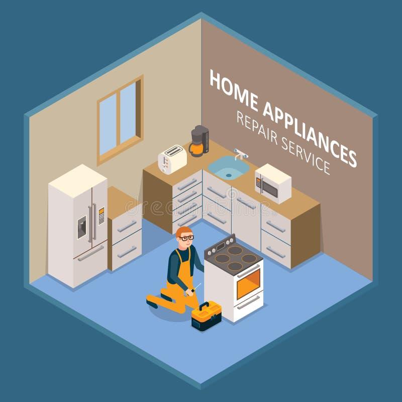 Domowych urządzeń remontowej usługa wektoru ilustracja ilustracja wektor