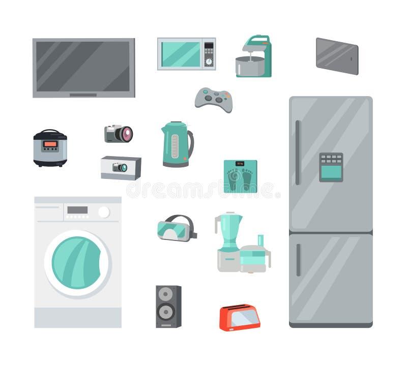 Domowych urządzeń wektory Ustawiający w Płaskim projekcie ilustracji